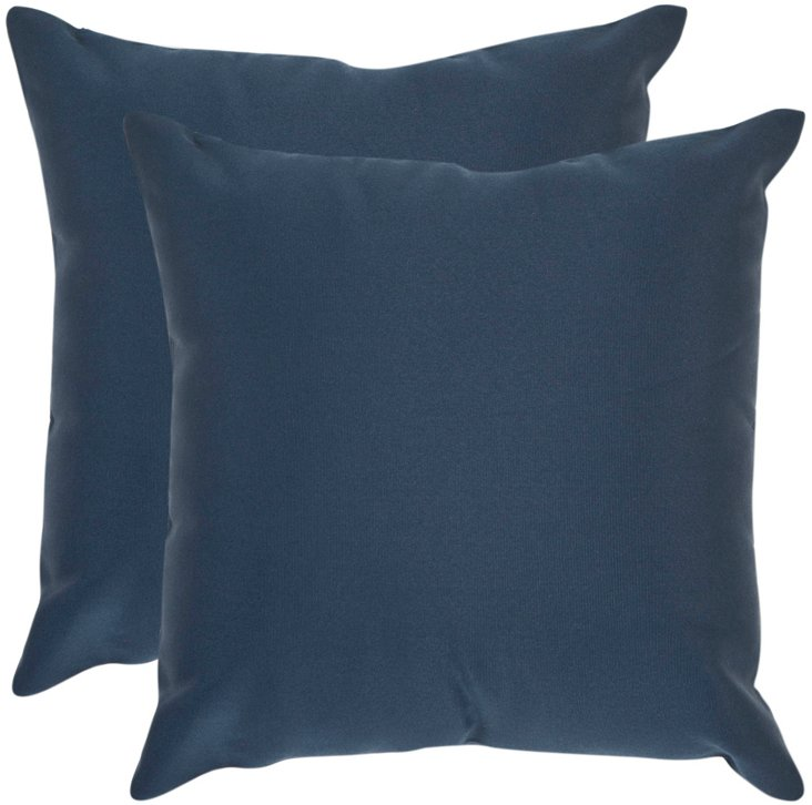 Set of 2 Solid 20x20 Pillows, Blue