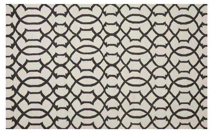 Gemas Dhurrie, Ivory/Charcoal