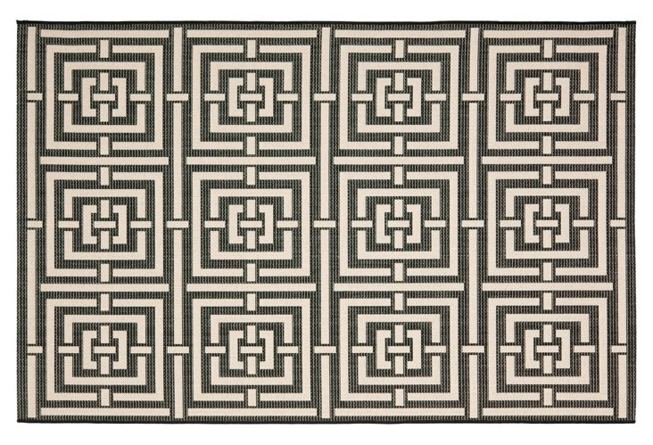 9'x12' Rufus Outdoor Rug, Black