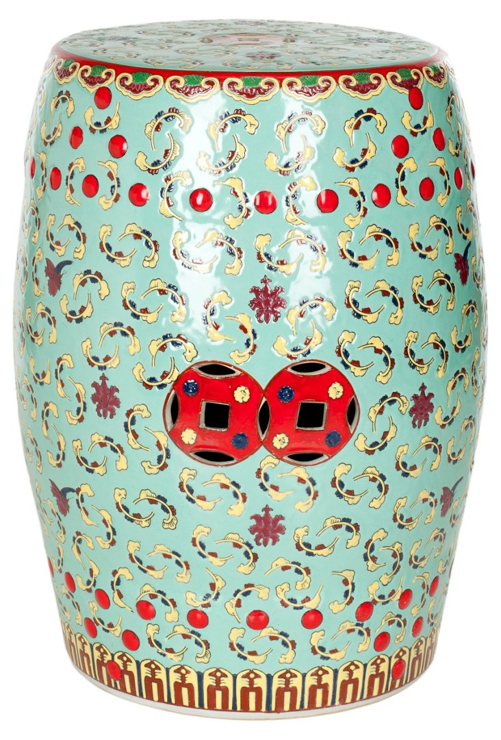 June Floral Stool, Red/Green