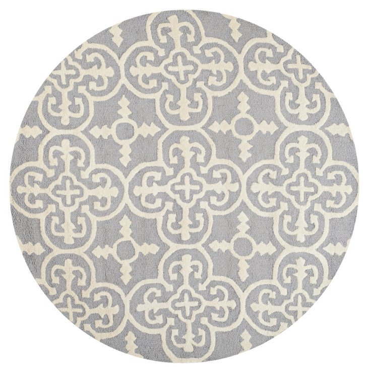 6' Round Packer Rug, Silver/Ivory
