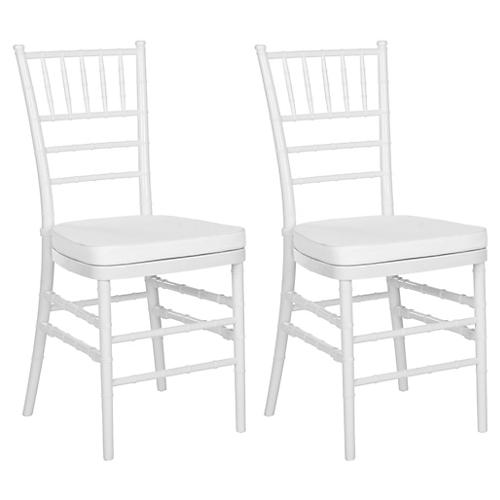 White Grace Side Chairs, Pair