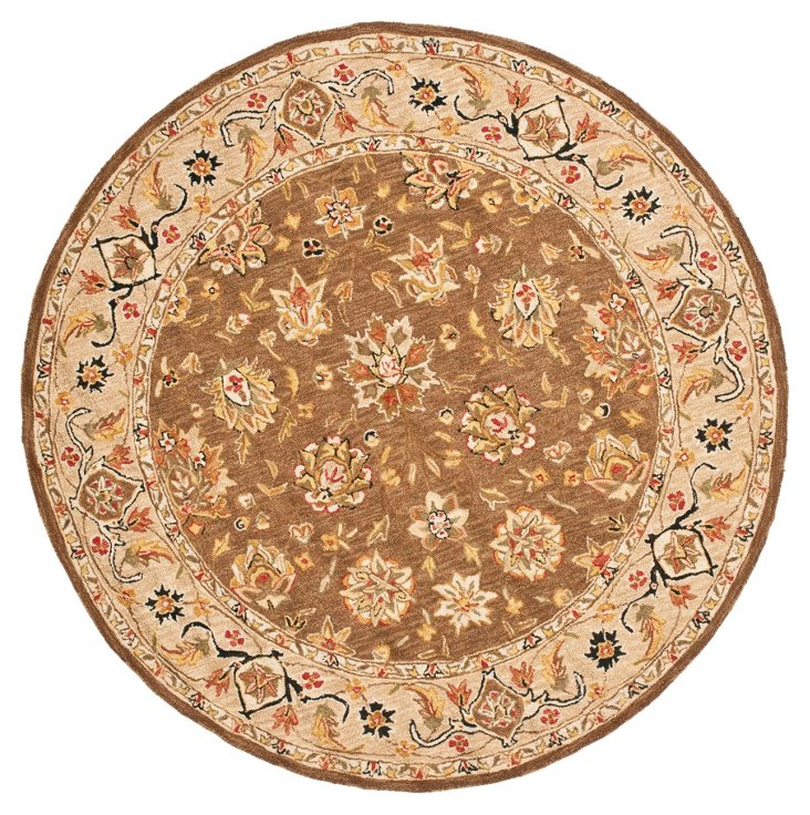 "5'6"" Round Pia Rug, Brown"