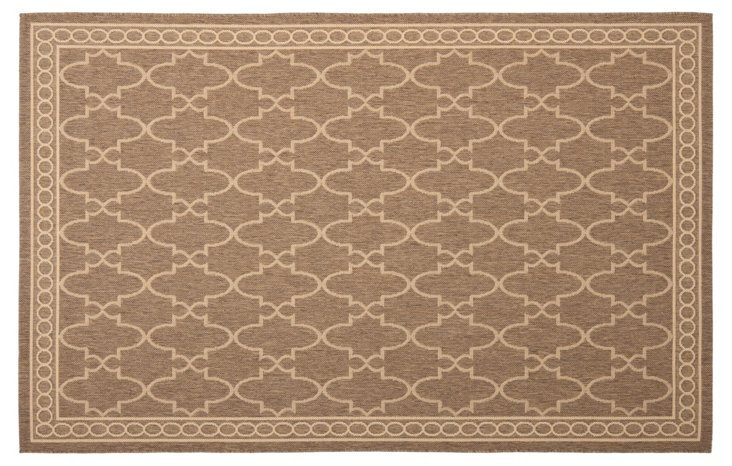 "2'x3'7"" Louis Outdoor Rug, Coffee/Sand"