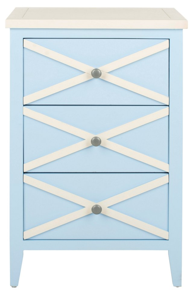Penelope Nightstand, Light Blue/White