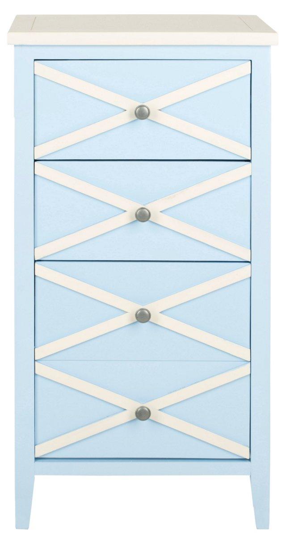 Alden Nightstand, Light Blue/White