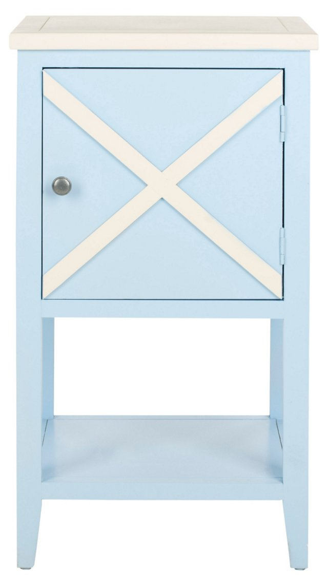 Wade Side Cabinet, Light Blue/White