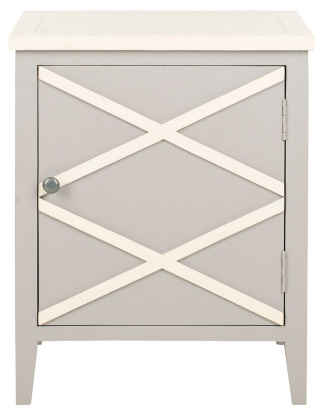 Leona Nightstand, Light Gray/White
