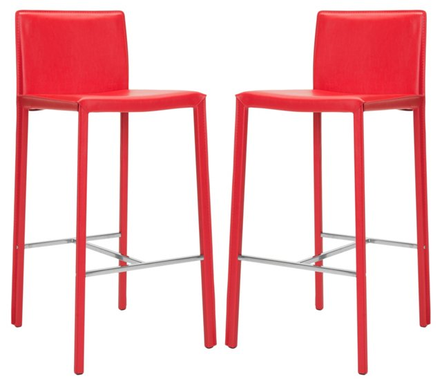 Red Collins Leather Barstool, Pair