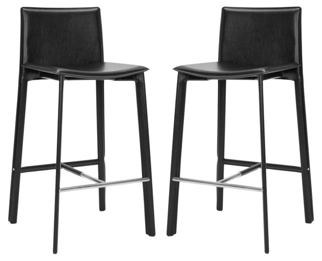 Black Collins Barstools, Pair