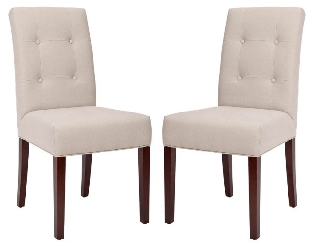 Beige Isaac Side Chairs, Pair