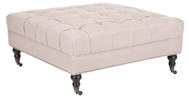 Lawrence Tufted Ottoman, Light Beige
