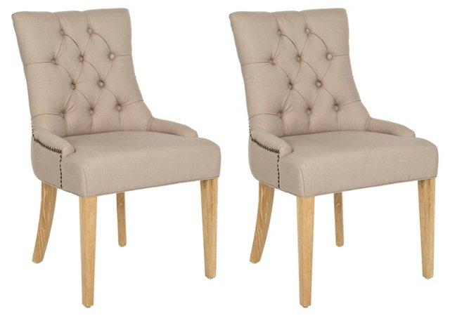 Beige Prescott Side Chairs, Pair