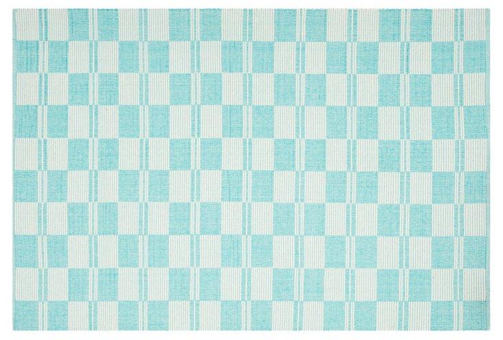 4'x6' Gurue Flat-Weave Rug, Aqua