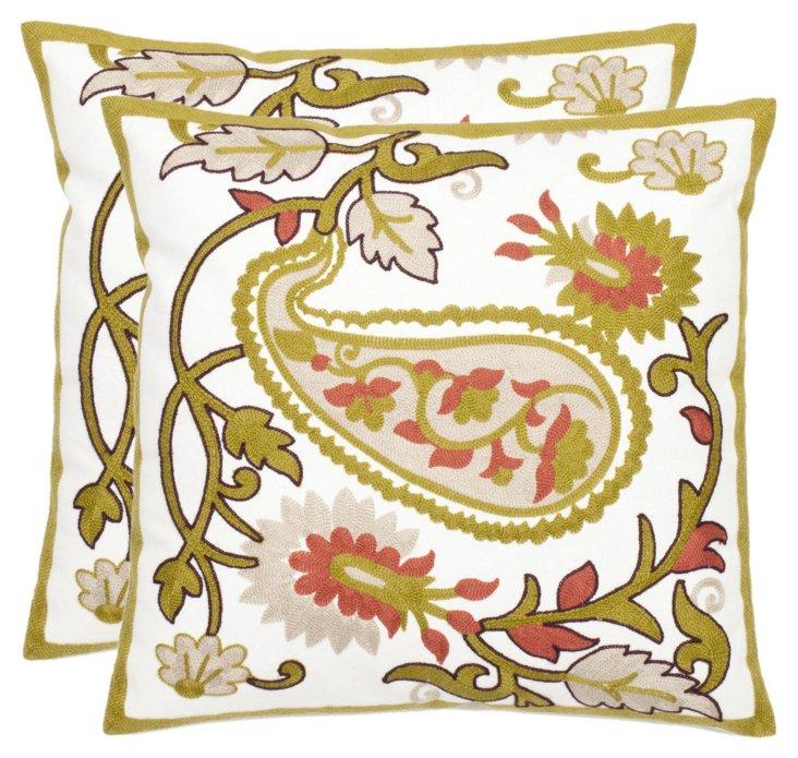 S/2 Gossamer 18x18 Cotton Pillows, Olive