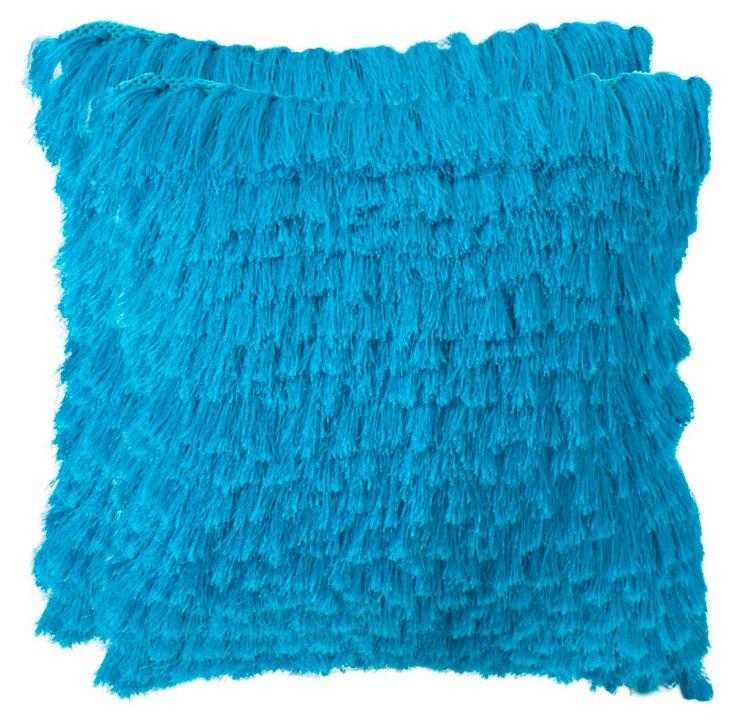 S/2 Cali Shag Pillows, Blue