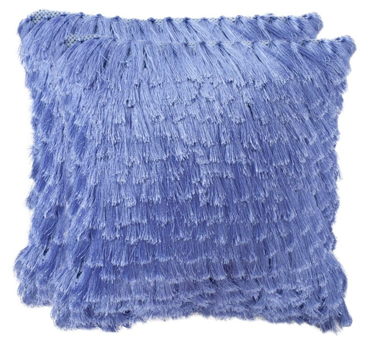 S/2 Cali Shag Pillows, Lilac