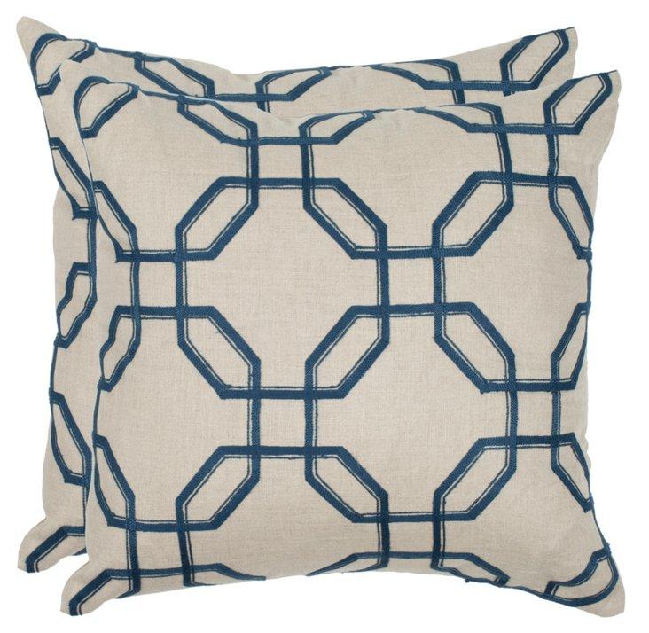S/2 Hayden 22x22 Linen Pillows, Indigo