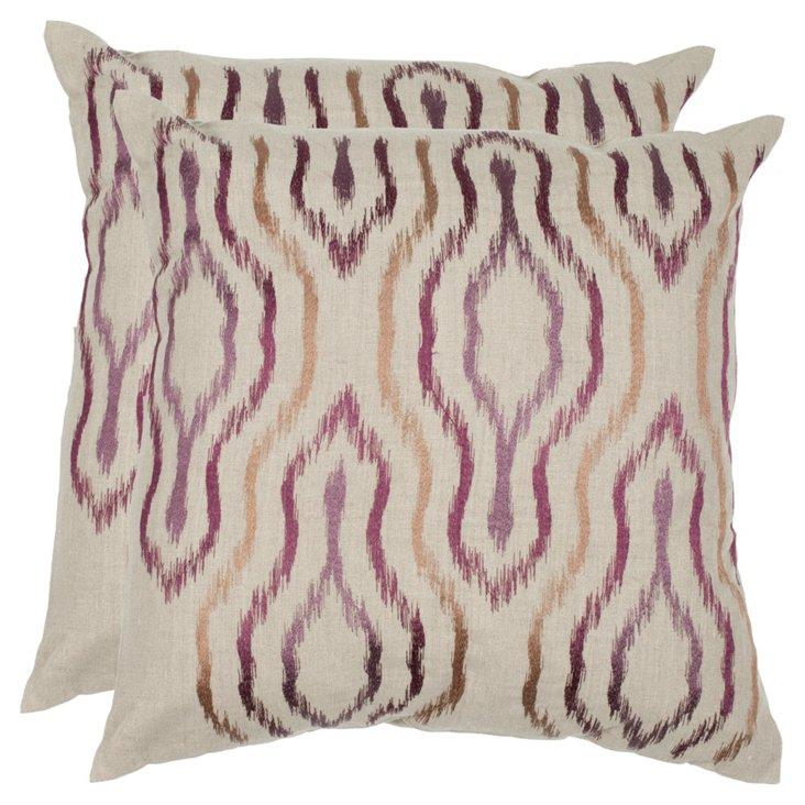 S/2 Quinn Linen Pillows, Plum