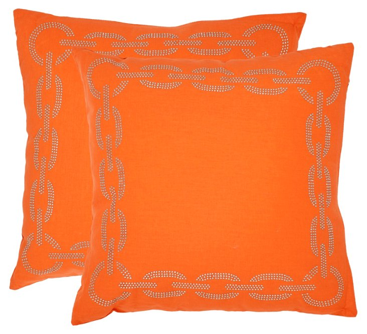 S/2 Sibine 18x18 Cotton Pillows, Orange