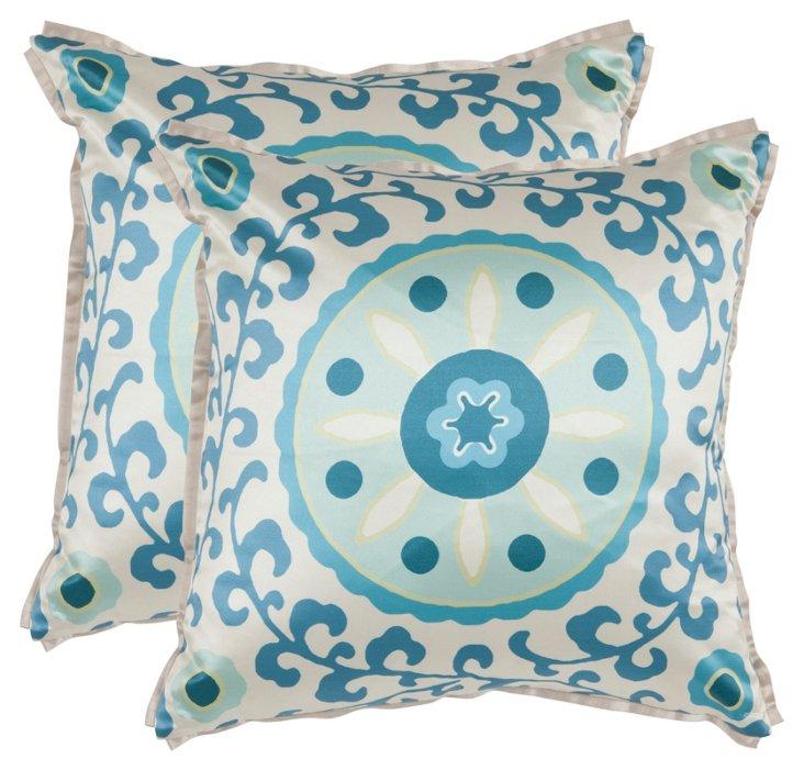 S/2 Frida 18x18 Pillows, Blue