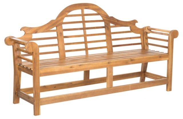 Kayla Outdoor Wood Bench, Natural