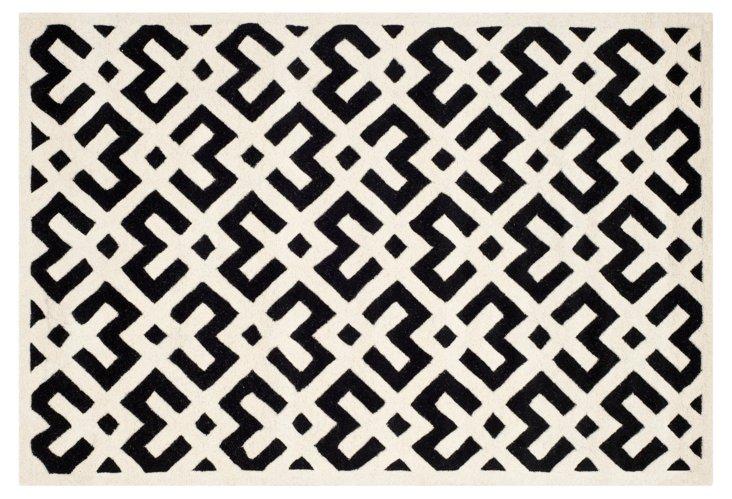 Solange Rug, Black/Ivory