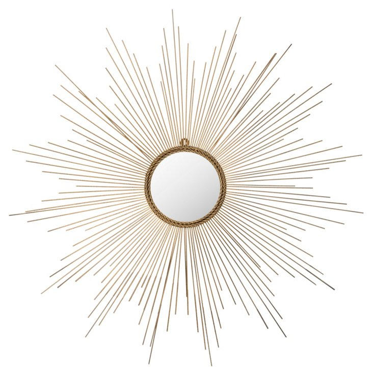 Crawford Sunburst Wall Mirror, Gold