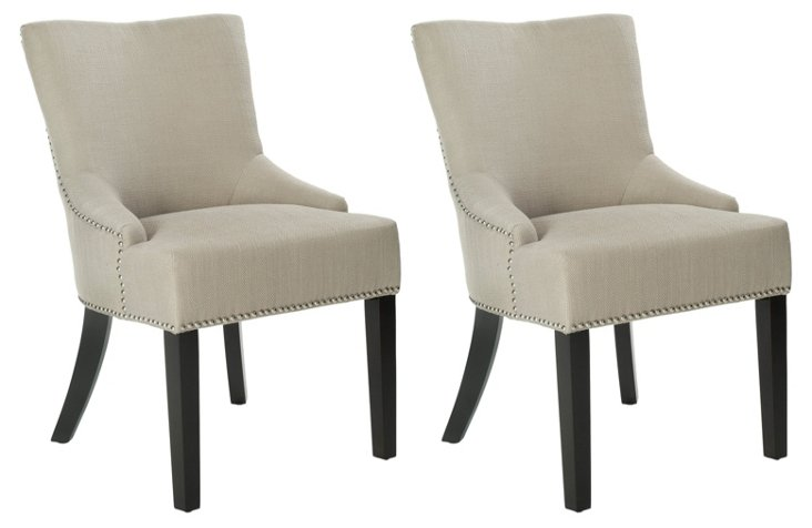 Oatmeal Neville Side Chairs, Pair