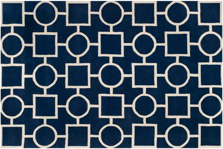 Jonah Rug, Dark Blue/Ivory