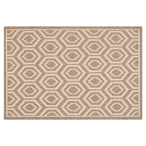 Lenny Outdoor Rug, Brown/Bone