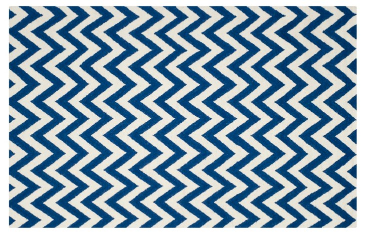 Senele Dhurrie, Blue/Ivory