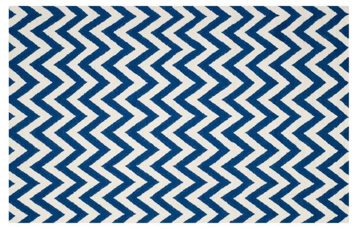 6'x9' Senele Dhurrie, Blue/Ivory