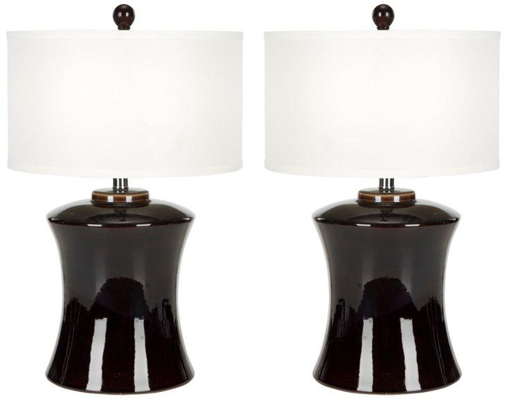 Jennifer Table Lamp Set, Black