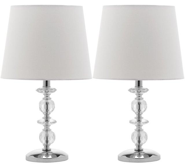 Emma Stacked Lamp Set, Crystal/Chrome