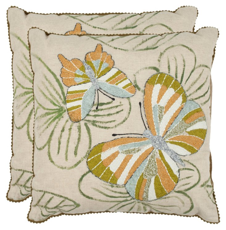 S/2 Casandra 18x18 Cotton Pillows, Multi