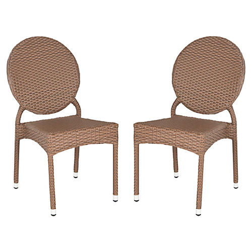 Outdoor Brown Madeleine Chairs, Pair