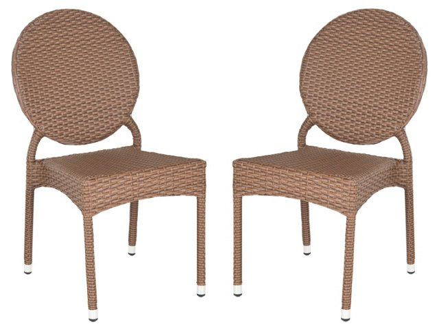 Outdoor Brown Madeleine  Chairs, Pair