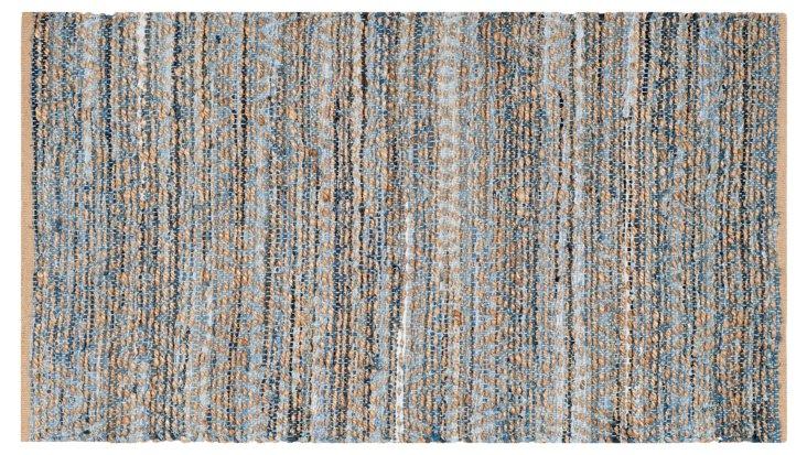 Capshaw Jute Rug, Natural/Blue