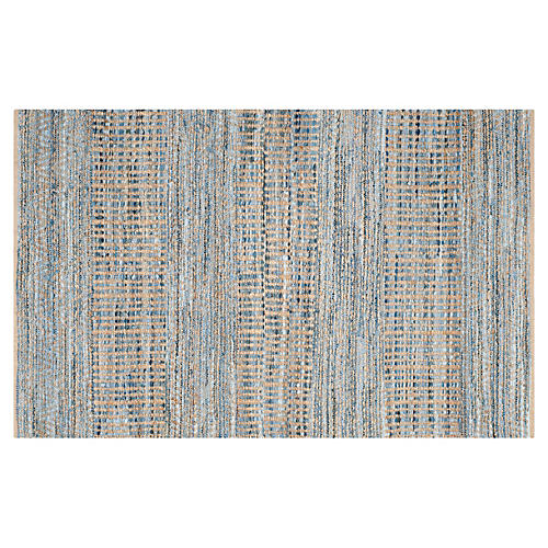 Faley Jute Rug, Natural/Blue