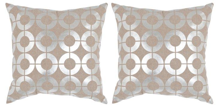 S/2 Shimmer Cotton Pillows, Silver