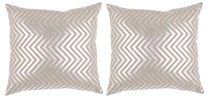 S/2 Shimmer 18x18 Cotton Pillows, Silver