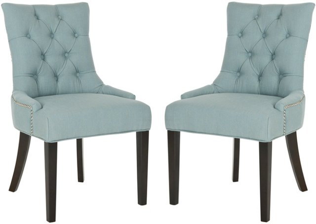 Blue Avery Side Chairs, Pair