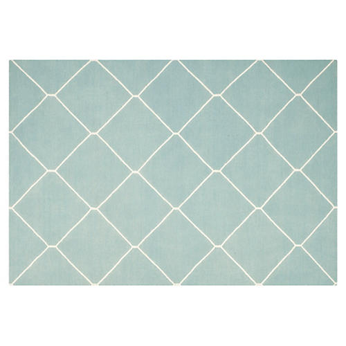 Papillon Dhurrie Rug, Light Blue