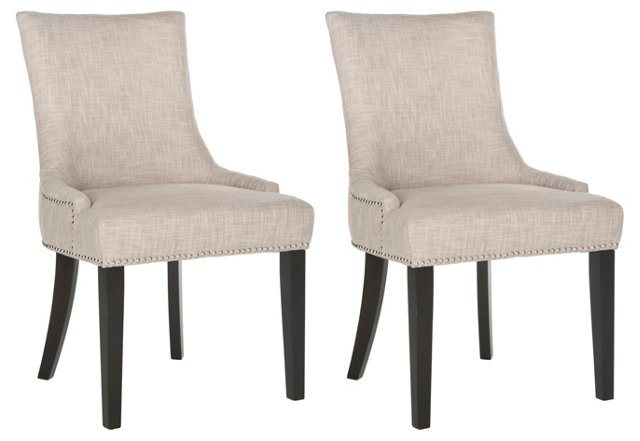 Heather Beige Lester Dining Chairs, Pair