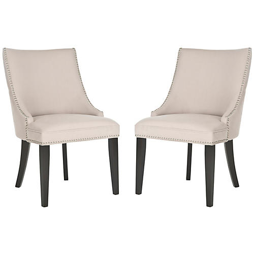 Beige Linen Side Chairs, Pair