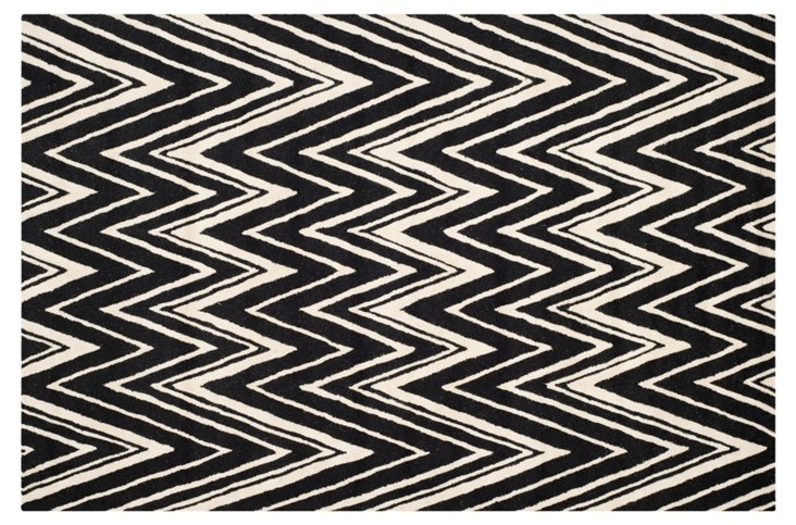 6'x9' Manhattan Rug, Black/Ivory