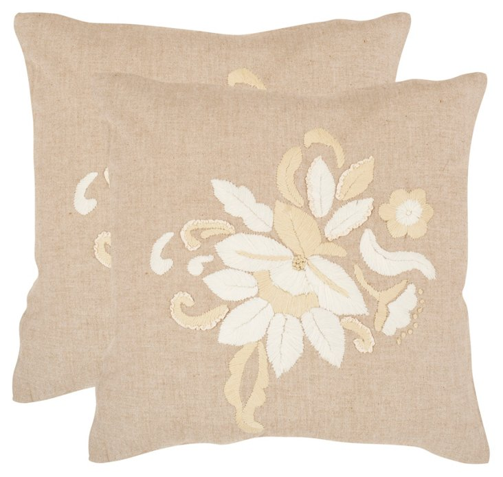 S/2 June Pillows, Beige