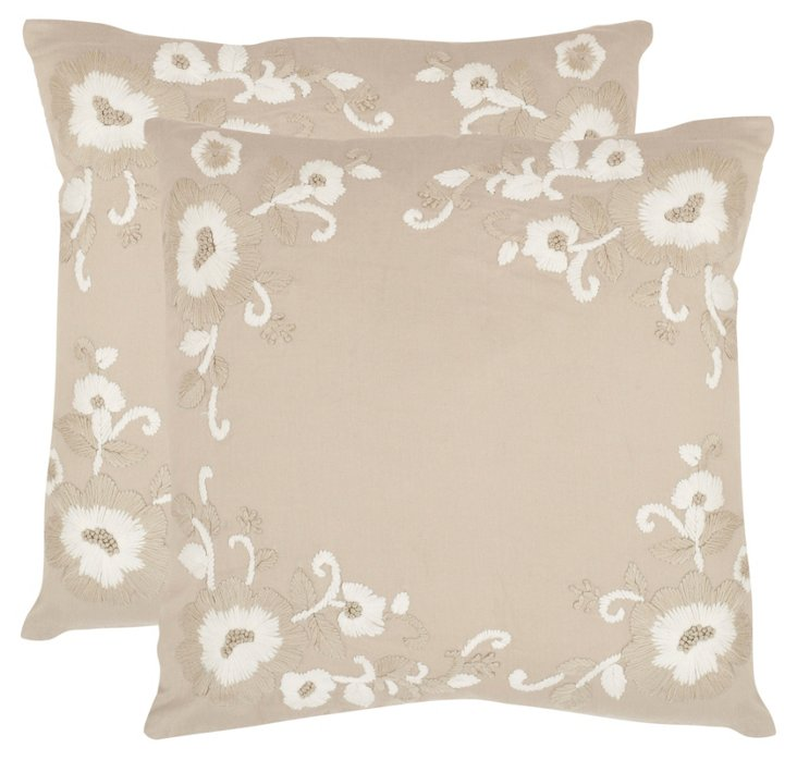 S/2 Jenny Pillows, Beige