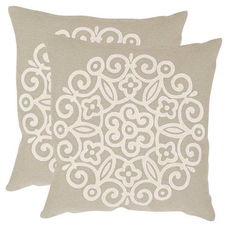 S/2 Joanna Linen-Blended Pillows, Beige